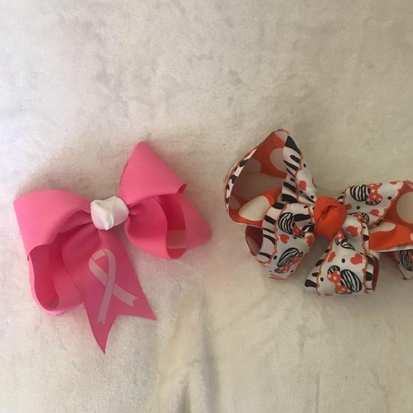 2x Girl bow Hair Clip Pink Zebra Flower Minnie Leopard Red White Navy Accessory
